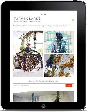 Tarmi Clarke website, design and Wordpress build by Birdhouse Digital