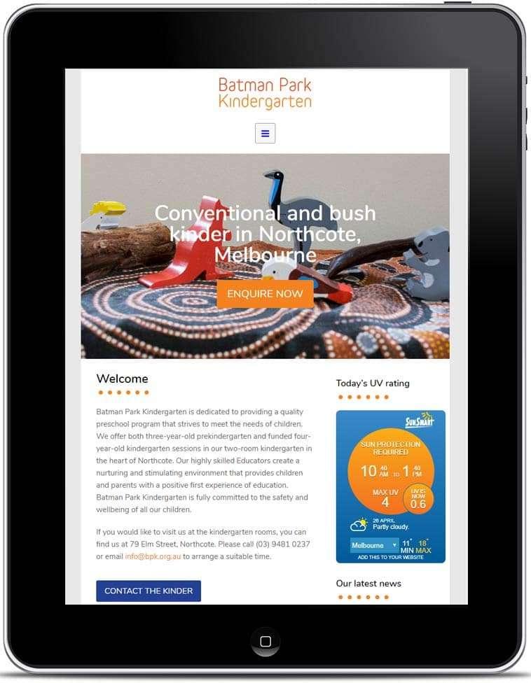 Batman Park Kindergarten Website, Design And Wordpress Website Build By Birdhouse Digital.