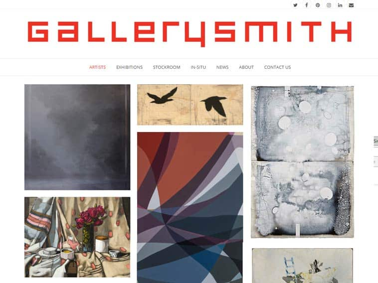 Gallerysmith Website, Homepage On Desktop. Design And Wordpress Build By Birdhouse Digital